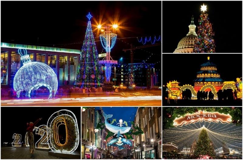 Праздничные огни на улицах городов мира