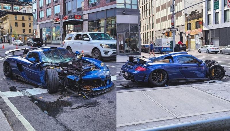Блогер в неадекватном состоянии разбил новый суперкар на пустой улице в Нью-Йорке - «Хорошее настроение»