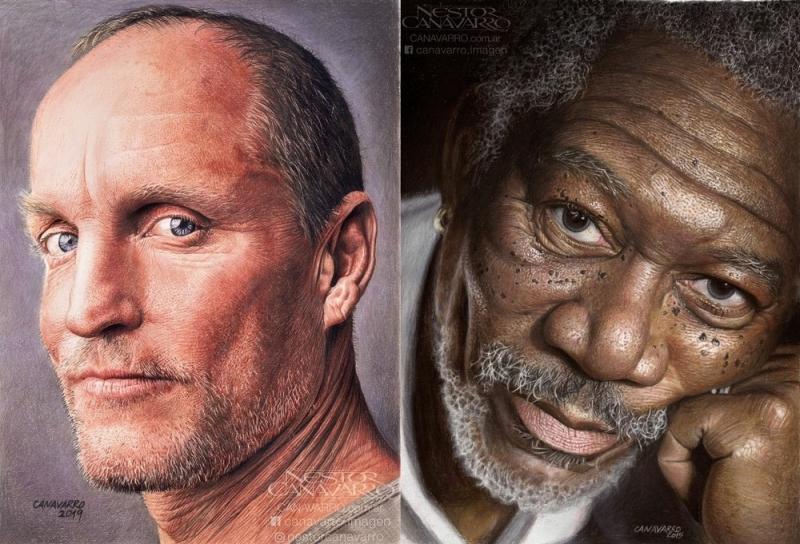 Гиперреалистичные цветные портреты карандашами художника Нестора Канаварро - «Хорошее настроение»