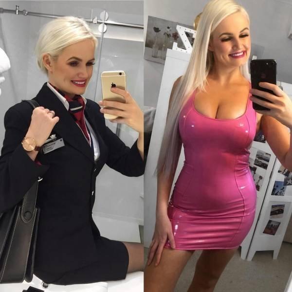 Стюардессы в форме и в обычной одежде (20 фото)