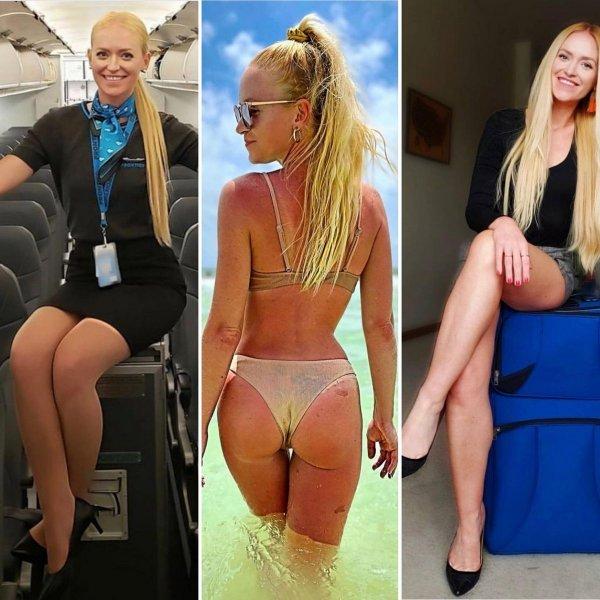 Стюардессы в униформе и обычных вещах (15 фото)