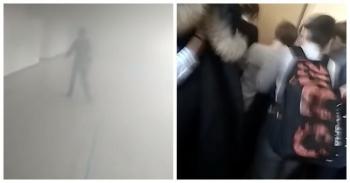 Во время пожара школьникам пришлось самостоятельно ломать двери эвакуационного выхода (3фото+2видео)