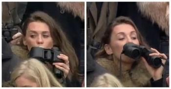 Зрительница Челтнемских гонок пронесла горячительное в бинокле, но попала в поле зрения оператора (7фото+1видео)