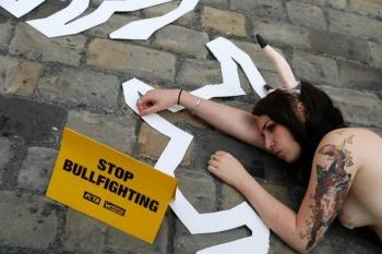 Полуголый протест против корриды (20 фото)