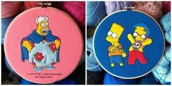 """Поклонница """"Симпсонов"""" создает яркие вышивки со сценами из мультсериала (14фото)"""
